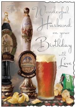 "Jonny Javelin Husband Birthday Card - Beer Taps, Pint Glass & Crisps 9"" x 6.25"""