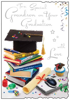 "Jonny Javelin Grandson Graduation Greetings Card - Cap, Books & Cake 9"" x 6.25"""
