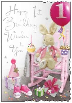 "Jonny Javelin Age 1 Girl Birthday Card - Pink Chair Rabbit & Gifts  9"" x 6.25"""