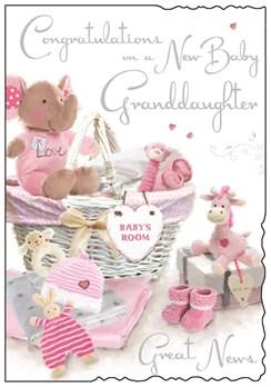 "Jonny Javelin New Baby Granddaughter Greetings Card - Pink Toys Basket 9""x6.25"""