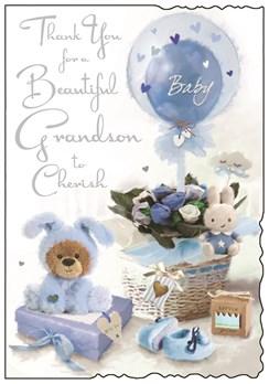 "Jonny Javelin Thank You For Baby Grandson Card - Blue Toys & Roses 9"" x 6.25"""