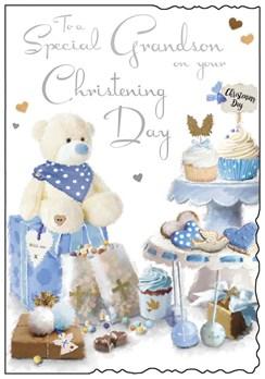 "Jonny Javelin Grandson's Christening Day Card - Blue Cupcakes & Teddy 9"" x 6.25"""