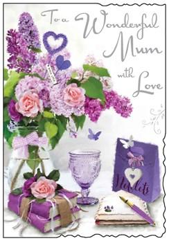 "Jonny Javelin Mum Birthday Card - Purple Flowers with Silver Foil 9"" x 6.25"""