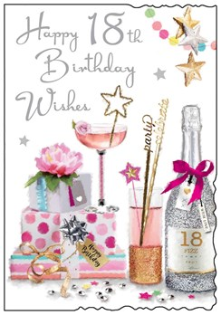 """Jonny Javelin Age 18th Birthday Card - Pink Cocktail and Champagne 9"""" x 6.25"""""""