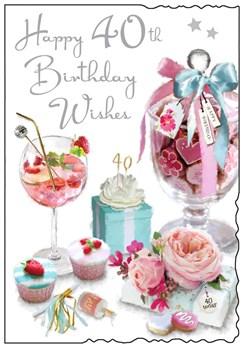 "Jonny Javelin 40th Birthday Card - Age 40 Pink Sweet Jar Cocktail 9""x6.25"""