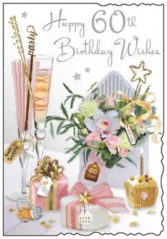 "Jonny Javelin 60th Birthday Card - Champagne Flutes Flowers Silver Foil 9""x6.25"""