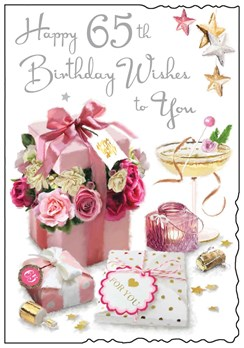 """Jonny Javelin 65th Birthday Card - Flowers in Pink Box and Silver Foil 9""""x6.25"""""""