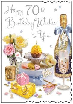 "Jonny Javelin Age 70 70th Female Birthday Card - Champagne Cake Flowers 9x6.25"""