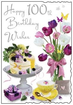 "Jonny Javelin Age 100 Female Birthday Card - 100th Birthday Tulips Cake 9x6.25"""