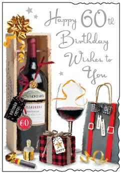 """Jonny Javelin 60th Birthday Card - Red Wine and Present and Silver Foil 9""""x6.25"""""""
