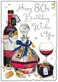 "Jonny Javelin Male Age 80 80th Birthday Card - Red Wine Silver Foil 9"" x 6.25"""