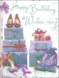 "Jonny Javelin Open Female Birthday Card - High Heels & Presents 7.25"" x 5.5"""
