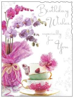 "Jonny Javelin Open Female Birthday Card - Pink Orchids & Teacups 7.25"" x 5.5"""