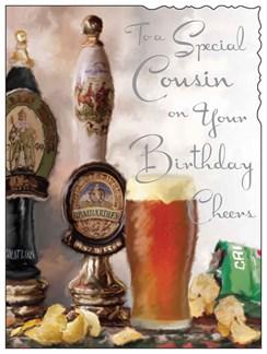 "Jonny Javelin Cousin Birthday Card - Beer Taps, Pint & Crisp Packet 7.25"" x 5.5"""