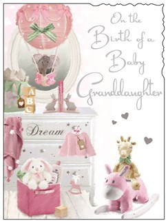 "Jonny Javelin New Baby Granddaughter Greetings Card - Pink Toys 7.25"" x 5.5"""