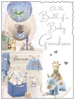 """Jonny Javelin New Baby Grandson Card - Blue Toys Glitter & Silver Foil 7.25x5.5"""""""