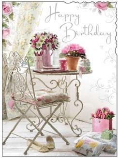 "Jonny Javelin Open Female Birthday Card - Flowers & Gifts On Table 7.25"" x 5.5"""