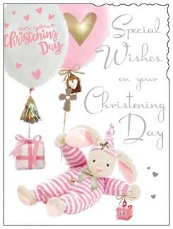 "Jonny Javelin Baby Girl Christening Day Card - Pink Bear & Balloons 7.25"" x 5.5"""