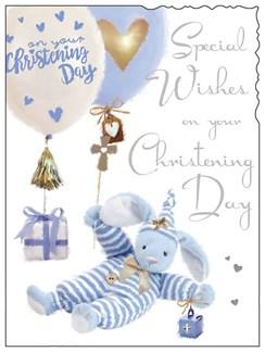 "Jonny Javelin Baby Boy Christening Day Card - Bear & Balloons 7.25"" x 5.5"""