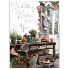 "Jonny Javelin Open Male Birthday Card - Garden Tools & Vegetables 7.25"" x 5.5"""