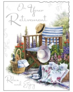 "Jonny Javelin Retirement Greetings Card - Deckchair, Hats & Picnic 7.25"" x 5.5"""