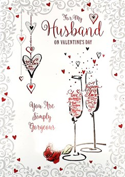 "Husband Valentine's Day Card - Champagne Flutes, Red Rose & Hearts 9.75"" x 6.75"""