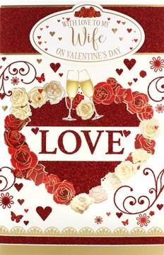 "Wife Valentine's Day Card & White Box - Flutes, Roses & Tiny Hearts 10.75"" x 7"""