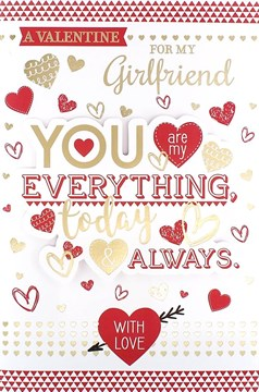 "Girlfriend Valentine's Day Card - Gold Text, Love Hearts & Red Triangles 9"" x 6"""