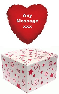 """Heart 18"""" Personalised Foil Helium Balloon In Box - Red Heart Any Message"""