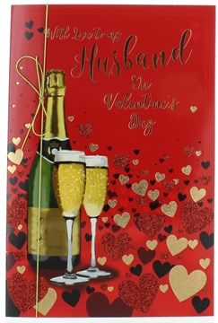 "Husband Valentine's Day Card & Envelope - Champagne & Glitter & Foil Hearts 9x6"""