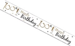 Age 100 Birthday Party Banner - SIlver Gold Holographic Foil 100th Birthday 2.6m