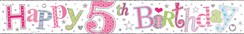 Age 5 Foil Girl Party Banner - Pastel Writing - Happy 5th Birthday