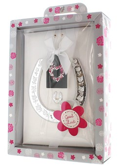 Silver Good Luck Keepsake Horseshoe & Grey Presentation Box - Wedding Gift