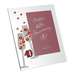 "Juliana Ruby 40th Wedding Anniversary Mirrored Glass Photo Frame 8"" x 7"""