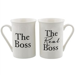Set Of 2 Ivory The Boss & The Real Boss Porcelain Mugs In Presentation Gift Box