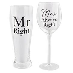 Set Of 2 - Wine Glass & Pint Glass Mr & Mrs Right In Cream Presentation Box