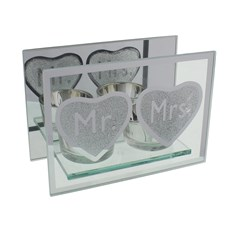 "Juliana Mr & Mrs Wedding Double Glass Tea Light Holder With Gift Box 4"" x 5.5"""