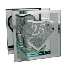 "Juliana Silver 25th Anniversary Glass Tea Light Holder With Gift Box 4"" x 4"""