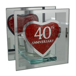 "Juliana Ruby 40th Anniversary Glass Tea Light Holder With Gift Box 4"" x 4"""