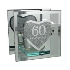 "Juliana Diamond 60th Anniversary Glass Tea Light Holder With Gift Box 4"" x 4"""