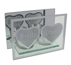 "Juliana Bride & Groom Double Glass Tea Light Holder With Gift Box 4"" x 5.5"""