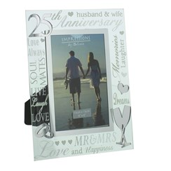 "Juliana Silver 25th Wedding Anniversary Mirrored Glass Photo Frame 8.75"" x 6.75"""
