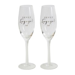 Set Of 2 Congratulations On Your Engagement Glass Champagne Flutes In Gift Box