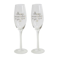 Set Of 2 Happy Anniversary To You Both Glass Champagne Flutes & Presentation Box