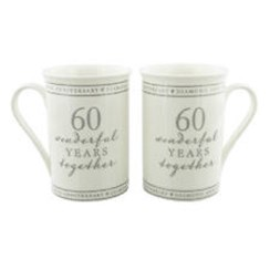 Set Of 2 Happy 60th Wedding Anniversary Porcelain Mugs In Presentation Gift Box