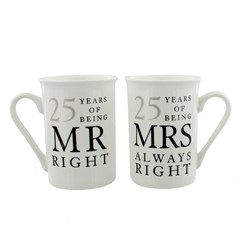 Set Of 2 25th Wedding Anniversary Porcelain Mugs In Presentation Gift Box