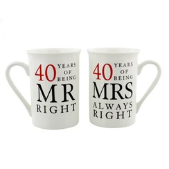 Set Of 2 Happy 40th Wedding Anniversary Porcelain Mugs In Presentation Gift Box
