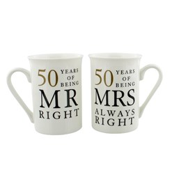 Set Of 2 Happy 50th Wedding Anniversary Porcelain Mugs In Presentation Gift Box