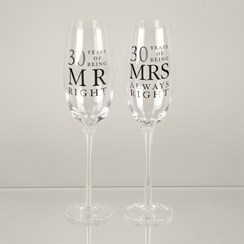 Set Of 2 Happy 30th Wedding Anniversary Glass Champagne Flutes In Gift Box