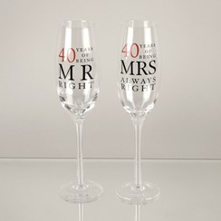 Set Of 2 Happy 40th Wedding Anniversary Glass Champagne Flutes In Gift Box